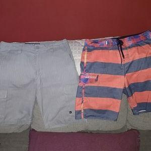 2 Men's Quicksilver sz 28 shorts and boardshorts